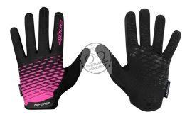 FORCE ANGLE MTB kerékpáros kesztyű fekete-rózsaszín